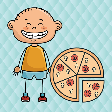 boy pizza fast food vector illustration graphic Stock Photo