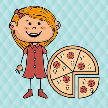 button mushroom: girl pizza fast food vector illustration graphic