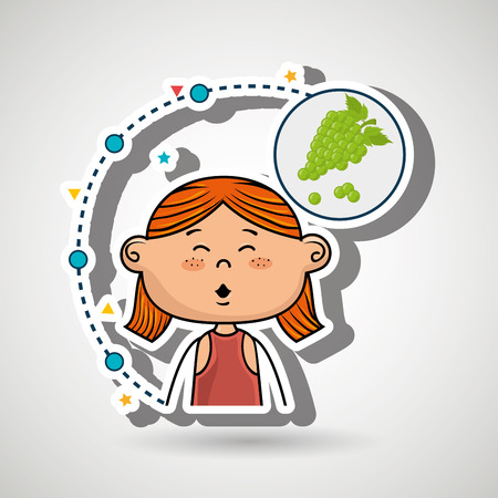 girl fruit food healthy vector illustration graphic Illustration