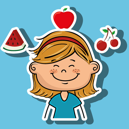 watermelon woman: girl fruit food healthy vector illustration graphic Illustration