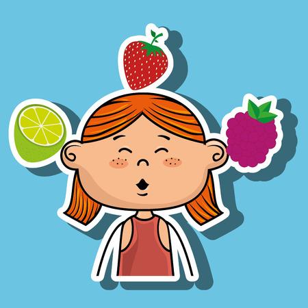 raspberry dress: girl fruit food healthy vector illustration graphic Illustration