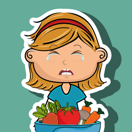 disgust: girl cry plate vegetables vector illustration graphic Illustration