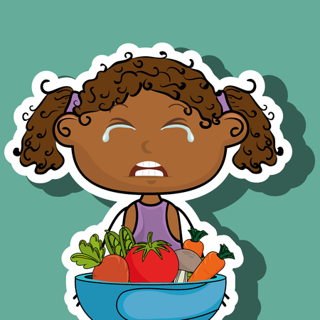 curly tail: girl cry plate vegetables vector illustration graphic Illustration