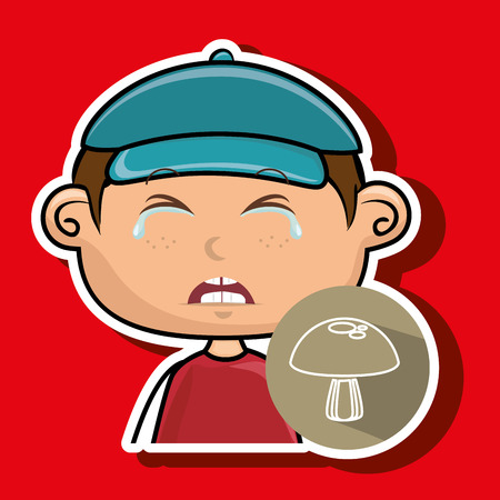 boy vegetable cry vector illustration graphic