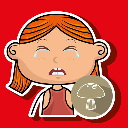 naughty girl: girl vegetable cry vector illustration graphic
