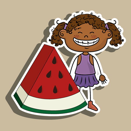 curly tail: girl watermelon fruit vector illustration graphic