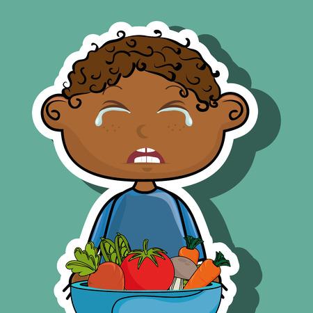jongen huilen plaat groenten vector grafische illustratie