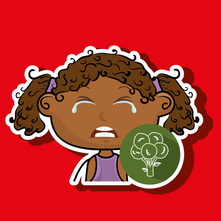 girl vegetable cry vector illustration graphic