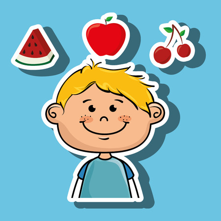 boy fruit food healthy vector illustration graphic