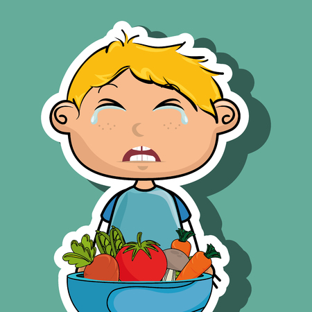 displeased: boy cry plate vegetables vector illustration graphic