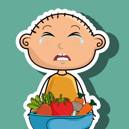 covering eyes: boy cry plate vegetables vector illustration graphic