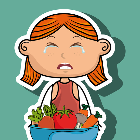 girl cry plate vegetables vector illustration graphic Illusztráció