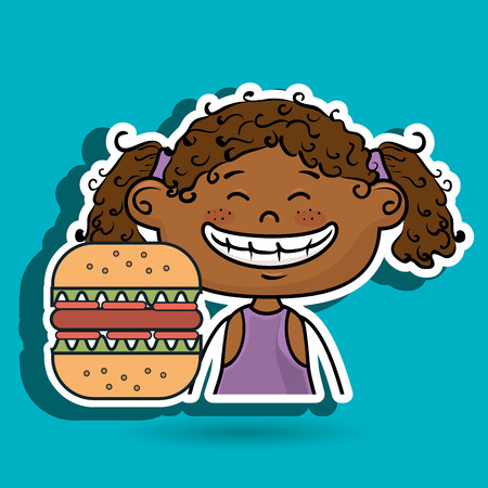 curly tail: girl burger fast food vector illustration graphic