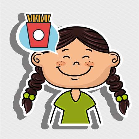 girl kid french fries icon vector illustration graphic