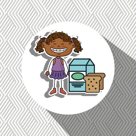 girl milk bread food vector illustration graphic Illustration