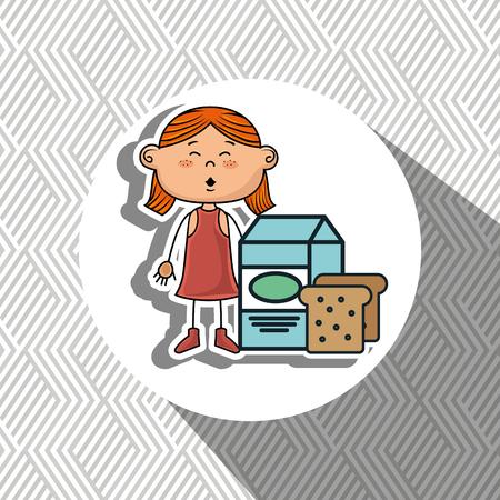 redhair: girl milk bread food vector illustration graphic Illustration