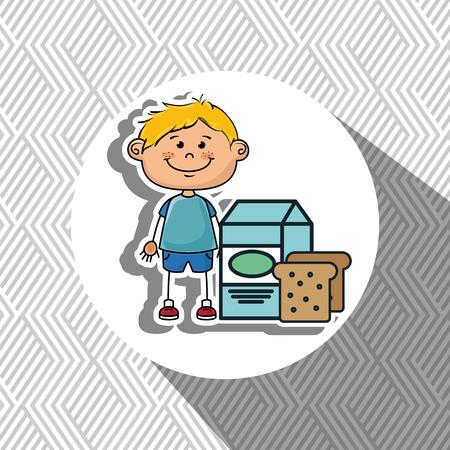 hungry kid: boy milk bread food vector illustration graphic