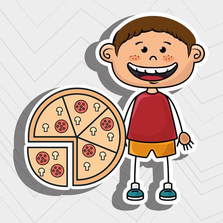 boy pizza fast food vector illustration graphic Illustration