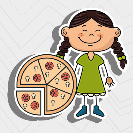 eyes are closed: girl pizza fast food vector illustration graphic