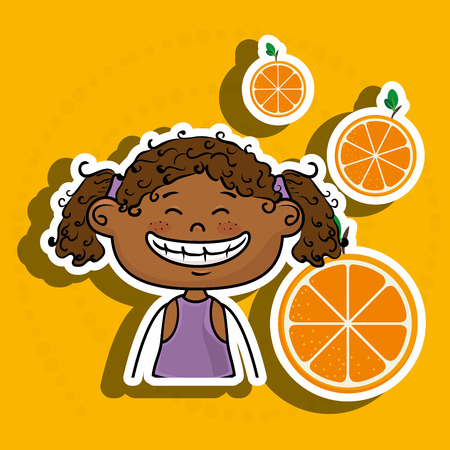 curly tail: girl kid fruit food vector illustration graphic