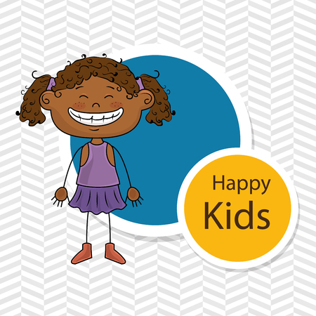 curly tail: girl kids happy icon vector illustration graphic Illustration