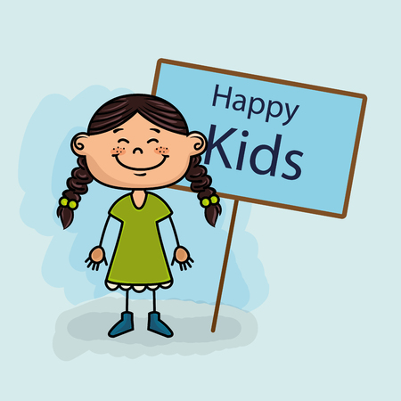 young schoolchild: girl kids happy poster vector illustration graphic Illustration