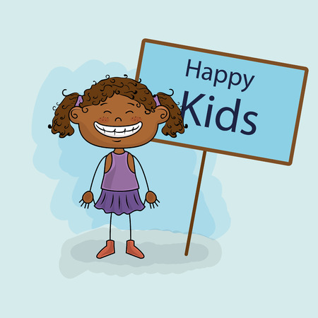 curly tail: girl kids happy poster vector illustration graphic Illustration