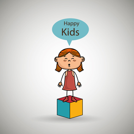 redhair: girl kids happy cube icon vector illustration graphic
