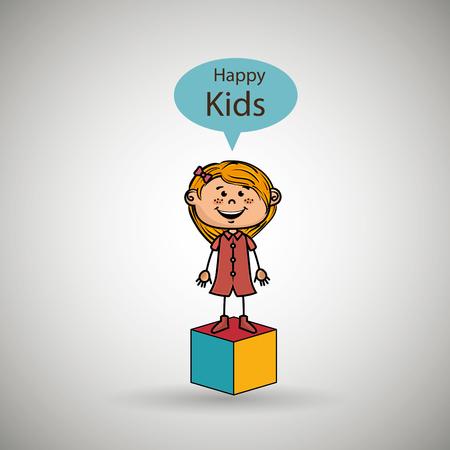Niña de los niños cubo feliz ilustración del vector del icono gráfico