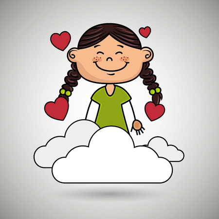 eyes are closed: girl cloud heart love vector illustration graphic