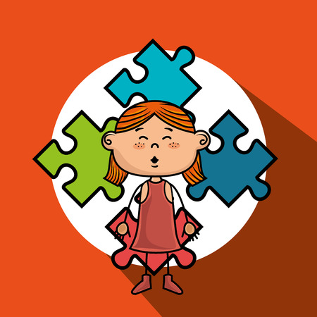 orange dress: girl kids puzzle icon vector illustration graphic