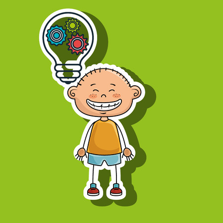 boy idea gears icon vector illustration graphic