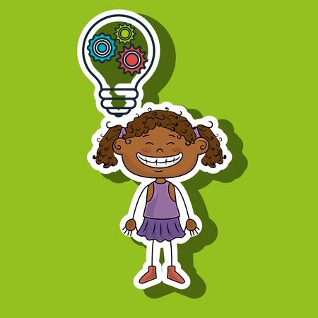 curly tail: girl idea gears icon vector illustration graphic