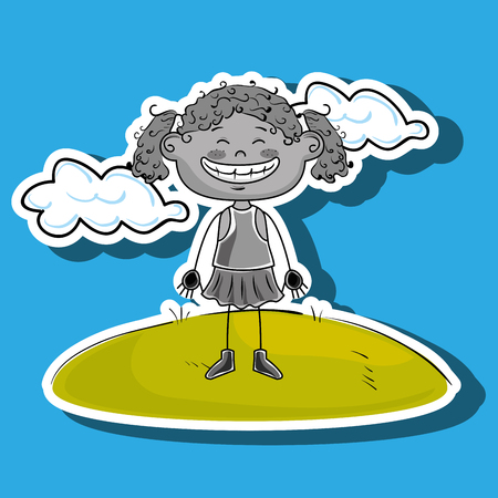 curly tail: kid cloud meadow icon vector illustration graphic Illustration