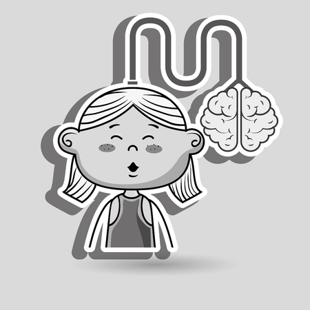 redhair: girl kid brain cable idea vector illustration graphic