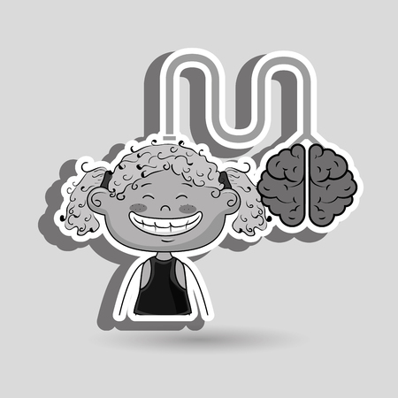 curly tail: girl kid brain cable idea vector illustration graphic