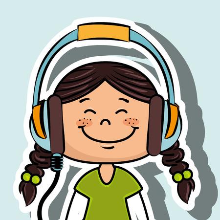 girl kid headphone music icon vector illustration graphic
