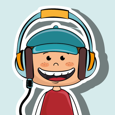 kid headphone music icon vector illustration graphic