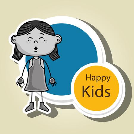 redhair: girl kids happy icon vector illustration graphic Illustration