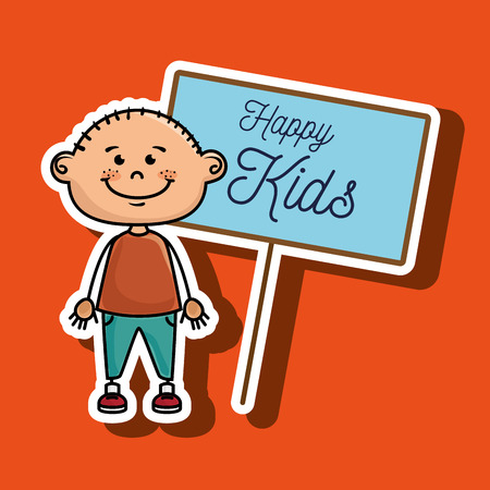 young schoolchild: boy kids happy poster vector illustration graphic