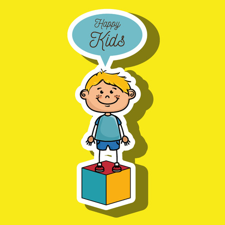 boy kids happy cube icon vector illustration graphic