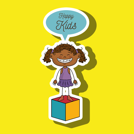 curly tail: girl kids happy cube icon vector illustration graphic