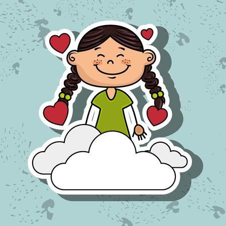 love cloud: girl cloud heart love vector illustration graphic