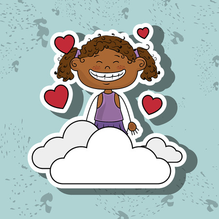 curly tail: girl cloud heart love vector illustration graphic