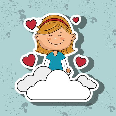 girl cloud heart love vector illustration graphic