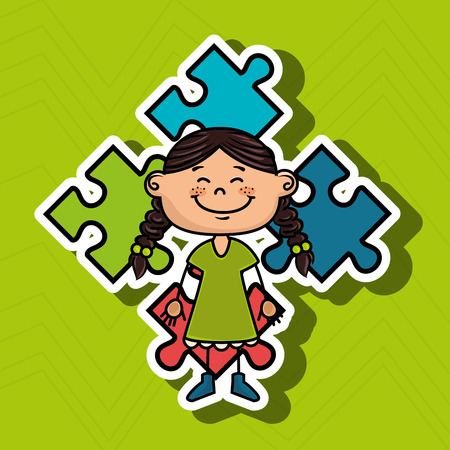 eyes are closed: girl kids puzzle icon vector illustration graphic
