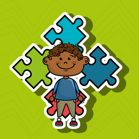 mental object: boy kids puzzle icon vector illustration graphic