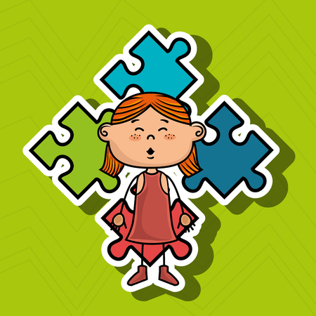 girl kids puzzle icon vector illustration graphic