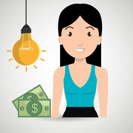 woman money idea vector illustration graphic