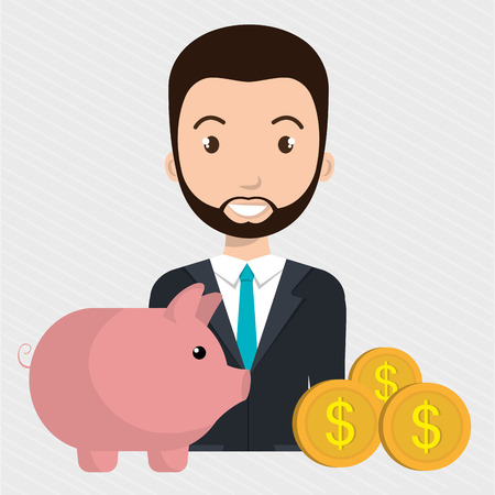 man piggy currency money vector illustration graphic